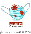 Mask to prevent infection from respiratory viruses.,Coronavirus disease COVID-19 infection medical isolated.New official name for Coronavirus disease named COVID-19, vector illustration 63882768