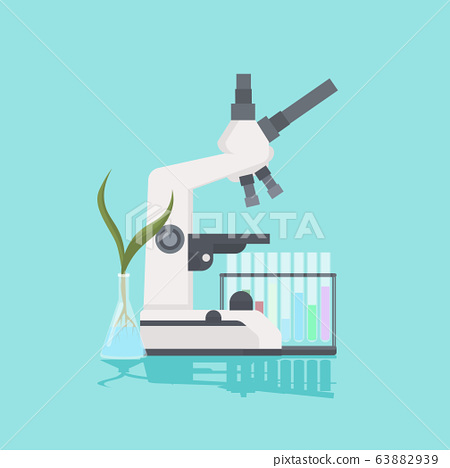 professional medical laboratory microscope plant growing in test tube scientific research equipment biology science education concept 63882939