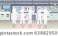 scientists team in hazmat suits holding test tubes working in medical lab mix race researchers making chemical experiments modern laboratory interior horizontal full length 63882950