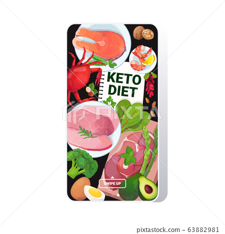 healthy food keto diet concept selection of good fat sources low carbs products composition on wooden background smartphone screen mobile app 63882981