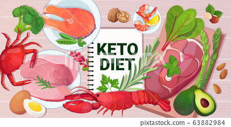 healthy food keto diet concept selection of good fat sources low carbs products composition on wooden background horizontal 63882984