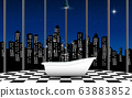 bathtub in bathroom with city background in night 63883852