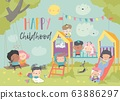 Happy children playing at playgroung. Hello summer 63886297