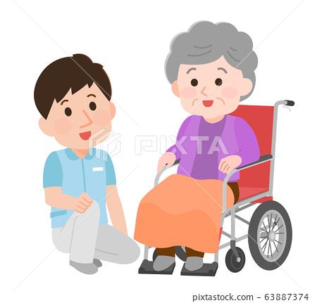 擁抱與坐在輪椅上的祖母的男性保姆的插圖 63887374