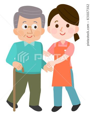 祖父和女保姆一起散步的插圖 63887382