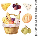 Picnic basket with wine, cheese and bread 63887600