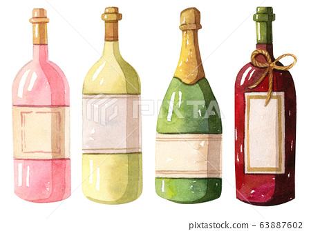 Watercolor illustration - Wine bottles - red, white, rose 63887602
