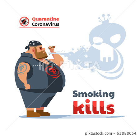 Poster dangers of smoking. Coronavirus. Biker man during COVID-19 pandemic coughing and smoking a cigarette at the street. Smoking causes lung cancer and other diseases. Cartoon vector illustration. 63888054