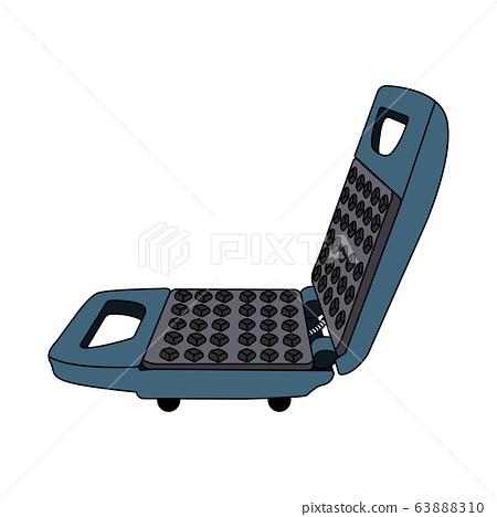 blue cartoon waffle maker. white background isolated vector illustration 63888310