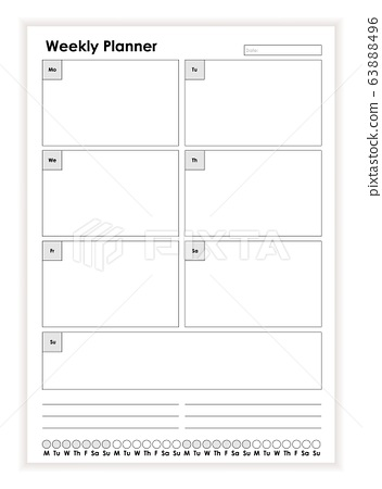 Simple Black And White Weekly Planner Paper Stock Illustration 63888496 Pixta