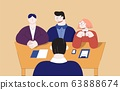 Team professional man and woman interviewing cartoon male job search vector flat illustration 63888674