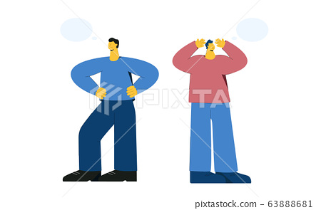 Two cartoon confident and miserable male with speech bubbles isolated on white 63888681