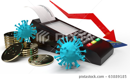The covid 19 virus  gold coins and Card swipe machine 3d rendering for Economic recession  Content. 63889185