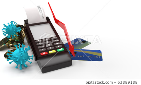 The covid 19 virus  gold coins and Card swipe machine 3d rendering for Economic recession  Content. 63889188