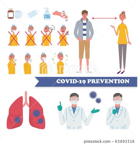面具患者咳嗽禮節冠狀病毒措施醫生預防插圖集 63893316