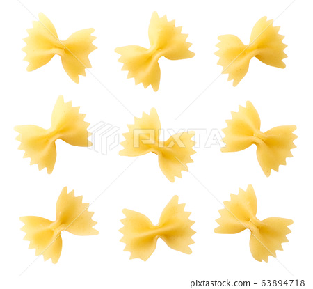 Set of pasta butterfly on a white. The view from 63894718