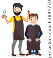 Man haircuts in a barber shop on a white 63894750