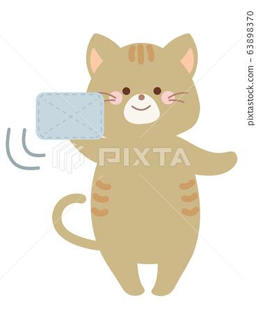 用抹布清洁猫的插图 63898370