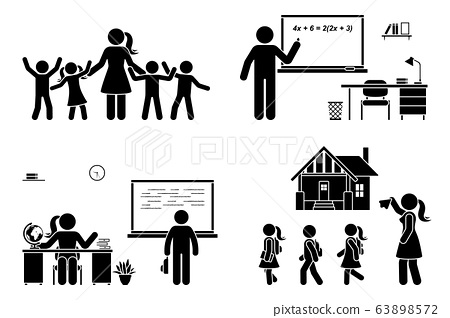Stick figure teacher with kids, writing on chalkboard, teaching student, sitting at desk vector icon pictogram. First day, back to school, parent and children set 63898572