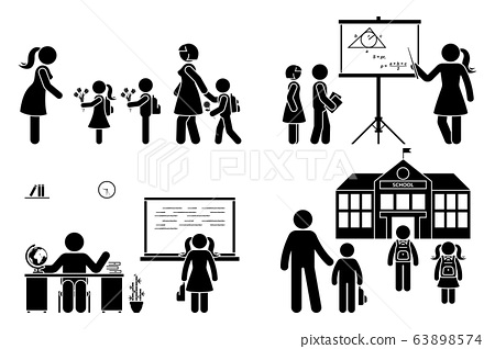 Stick figure teacher, school boy, girl go first day, study, learning knowledge vector icon pictogram. Parents with children, kids walking to preschool, primary, elementary education set 63898574
