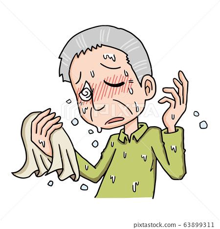 老人,祖父,中暑,脫水,出汗,汗水和熱 63899311