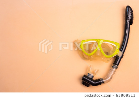 Top view of Snorkel on a color background. 63909513