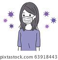 女人戴著口罩和病毒 63918443