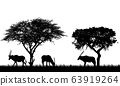 Illustration of African landscape on safari with 63919264