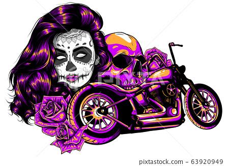 Girl with skeleton make up hand drawn vector sketch. Santa muerte woman witch portrait stock illustration 63920949