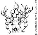 Deer horns fire logo design concept vector illustration 63921089