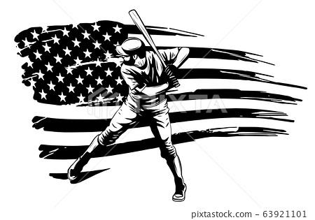 Fast Pitch Baseball Boy Cartoon Player with Bat Vector Illustration 63921101