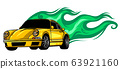 Sports car emblem with fire flames. Textile prints, vinyl stickers and decals for auto. 63921160
