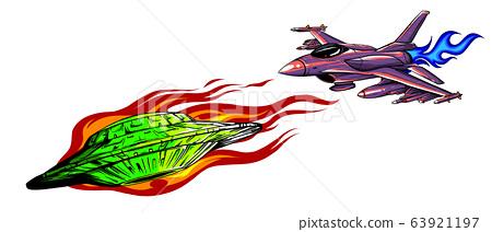 UFO in round shape illustration vector design 63921197