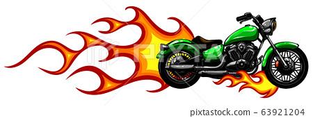 Fiery Sports Motorbike Racer Variation vector illustration 63921204