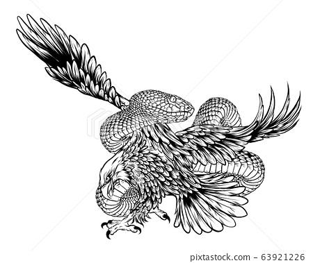 Eagle fight Snake vector illustration design art 63921226