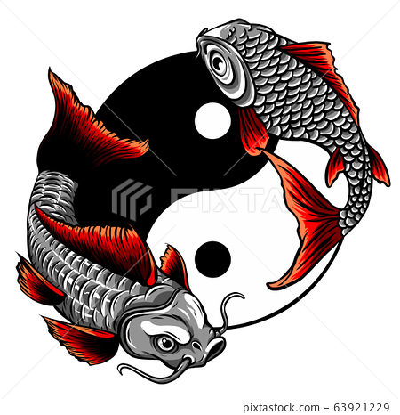 Fish Yin Yang logo vector illustration design 63921229