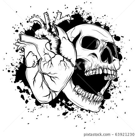 Human heart icon in cartoon style. Real disease heart vector illustration. 63921230