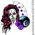 Casino Games - Poker, Hand Drawn Sketch Vector illustration. 63921936