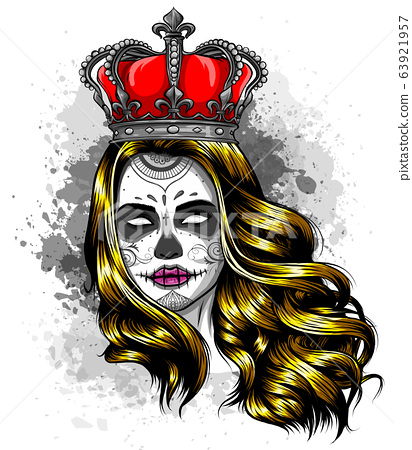 Female skull with a crown and long hair. Queen of death drawn in tattoo style. Vector illustration. 63921957