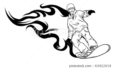 vector illustration of silhouette snowboarder and flames 63922019
