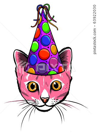 Hand Drawn Illustration of Cat in Party Hat, Heart shaped Glasses and Big Candy. 63922030