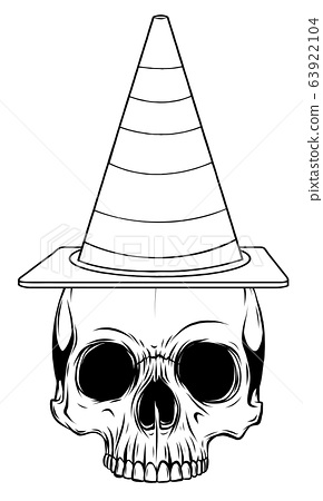 Vector illustration paper sticker Halloween icon witch hat with skull 63922104