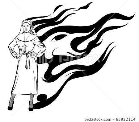 vector illustration of a sexy nun design art 63922114