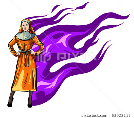 Isolated sexy nun. Beautiful and slim woman in nun costume on white background. vector 63922115