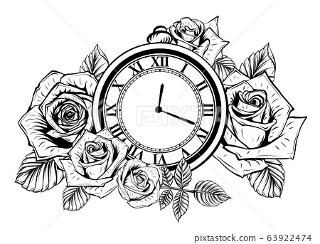 Composition with flower and pocket watch on chain. Vector illustration for tattoo. 63922474