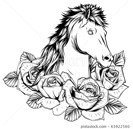 Beautiful horse with roses. Vector drawn illustration 63922560
