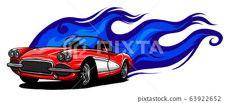 Sports car emblem with fire flames. Textile prints, vinyl stickers and decals for auto. 63922652