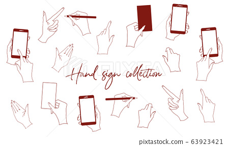 Analog vector illustration material set of hand sign including hand holding smartphone and pen 63923421