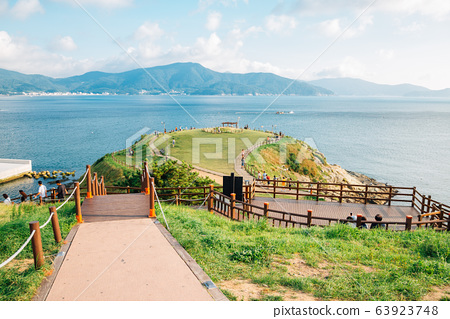 Sea and nature view at Hill of wind in Geoje, Korea 63923748