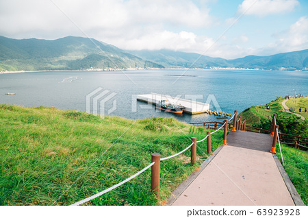 Sea and nature view at Hill of wind in Geoje, Korea 63923928